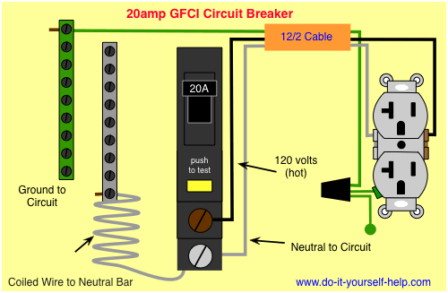 circuit breaker wiring diagrams do it yourself help com rh pinterest com circuit breaker wiring diagram gfci circuit breaker wiring diagram