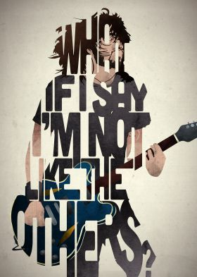 Designed by Pete Ware of 17th and Oak, this Dave Grohl typography art is inspired by lyrics from the band Foo Fighters.