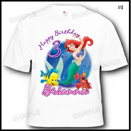 Personalized Little Mermaid Ariel Birthday T Shirt More Designs Available Inside On Etsy 1456