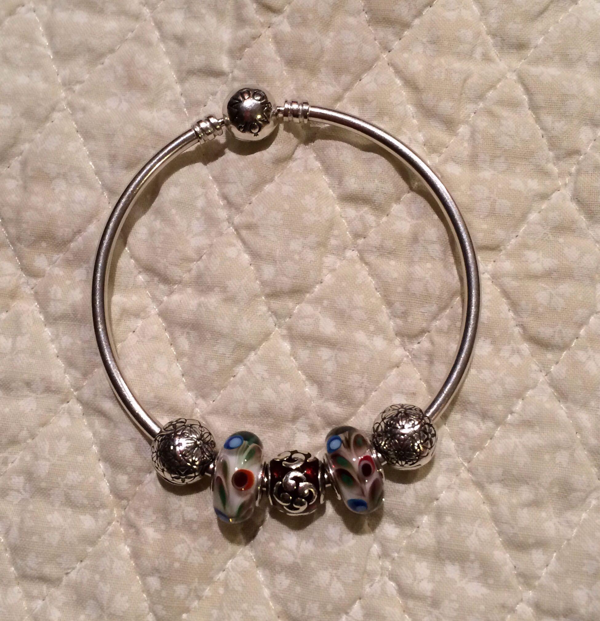 Added the Folklore murano beads to my Pandora bangle. I only like a few beads on the bangle bracelet.