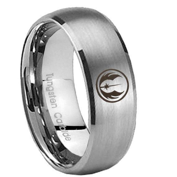 Tungsten Star Wars Jedi Brushed Silver Classic Dome Wedding Mens Bands Ring ( 5, 8 MM ) Size 7 to 14