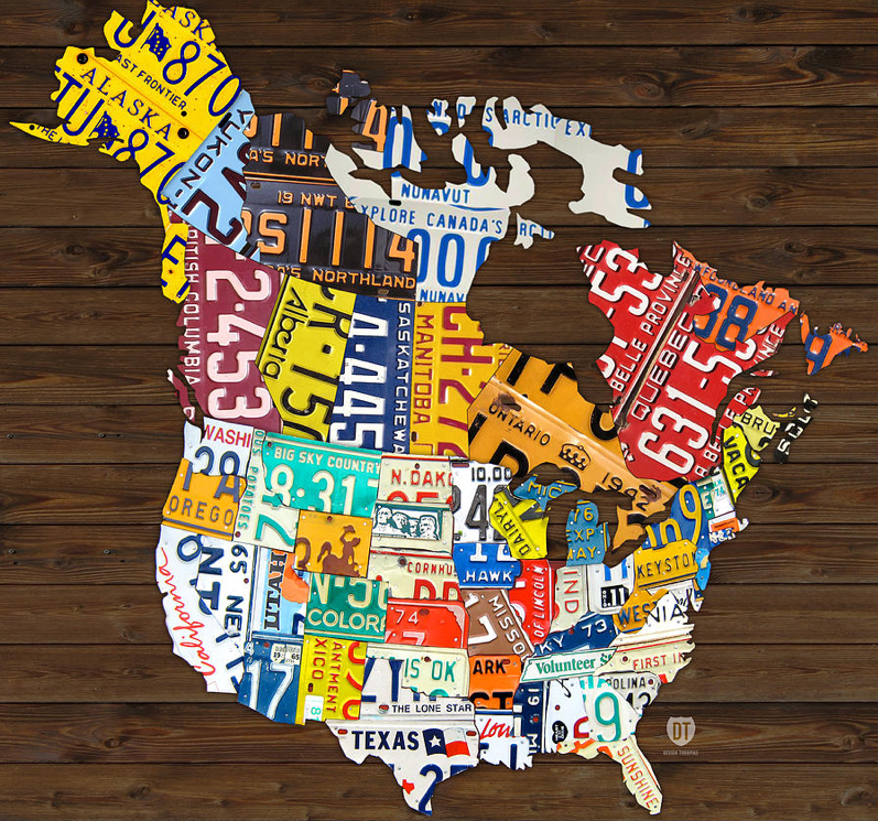 Us Map License Plates Map of the US made out of individual state license plates! Crafty