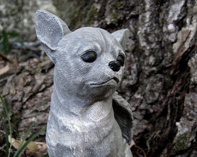 Chihuahua Dog Angel, White, Gray Concrete Garden Statue, Cement Pet  Memorial, Chihuahua