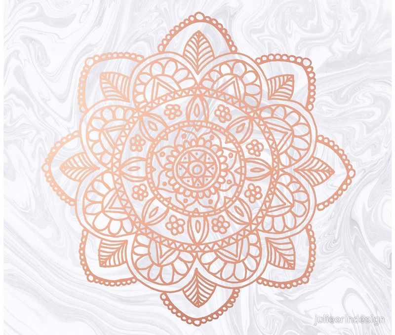 Rose Gold Mandala On White Marble Tapestry By