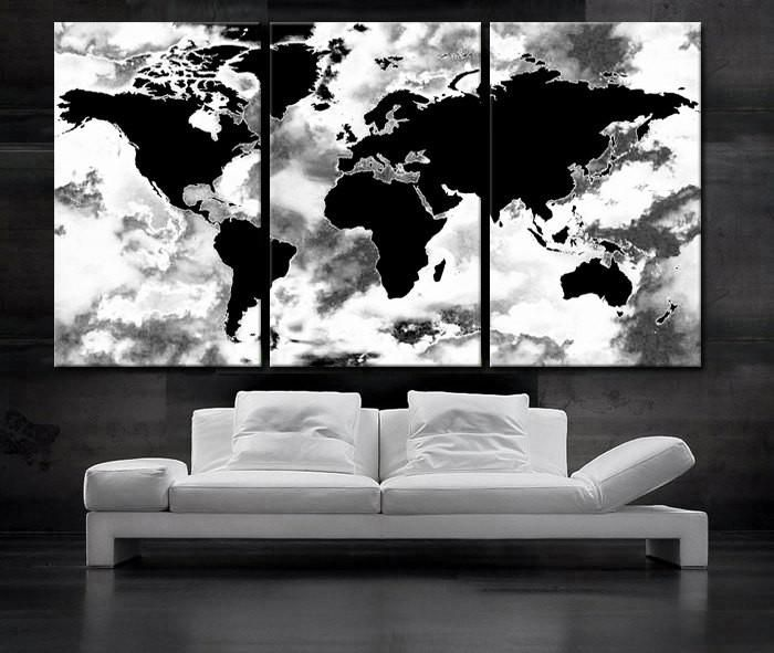 Large 30x 60 3 panels art canvas print beautiful world map black large 30x 60 3 panels art canvas print beautiful world map black gumiabroncs Choice Image