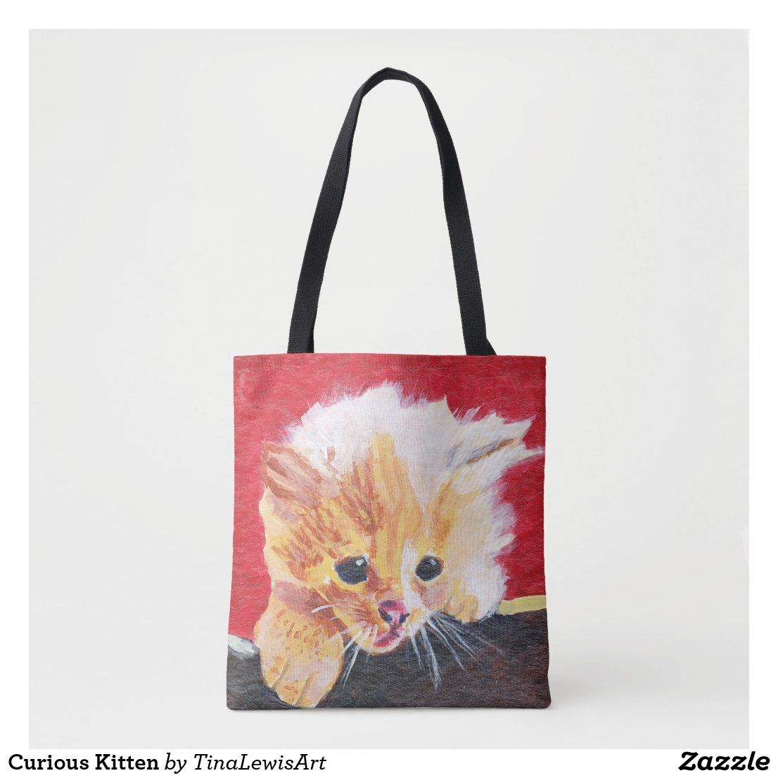 Curious Kitten Tote Bag Zazzle Com In 2020 Tabby Kitten Orange Tabby Kitten Orange Kittens