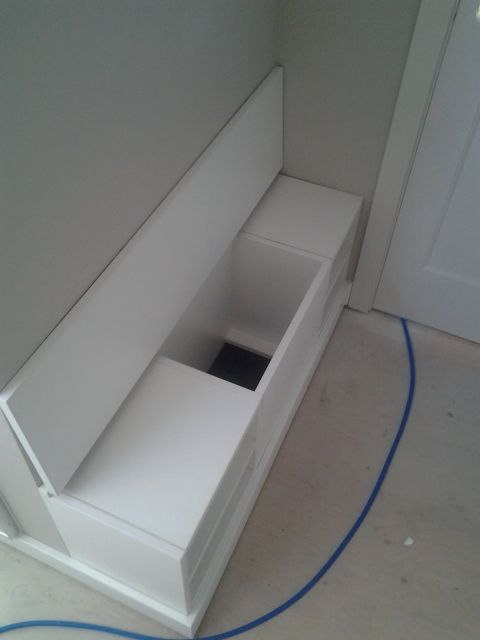Shoe Bench With A Flip Top To A Laundry Chute Laundry Chute Laundry Room Inspiration Laundry Room Design