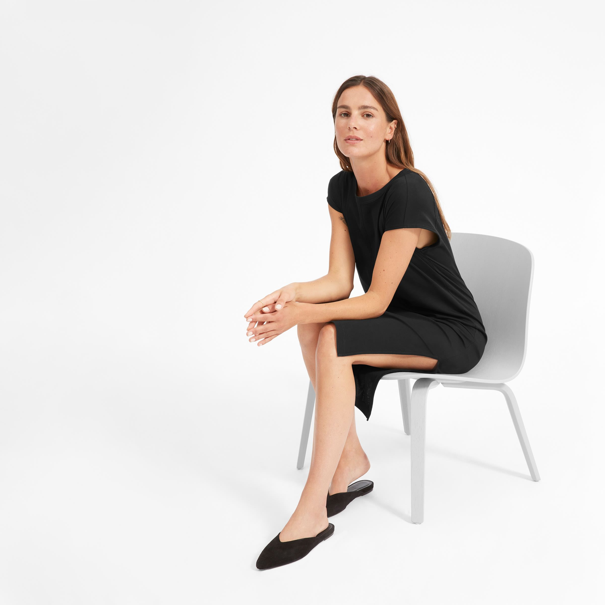 0635566596d69e Women's Luxe Cotton Side-Slit Tee Dress | Everlane | cut outs ...