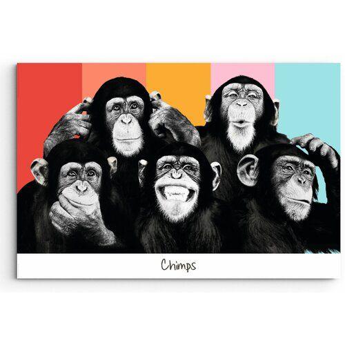 Schimpansen Zusammenstellung Grafik auf Holz ScanMod Design