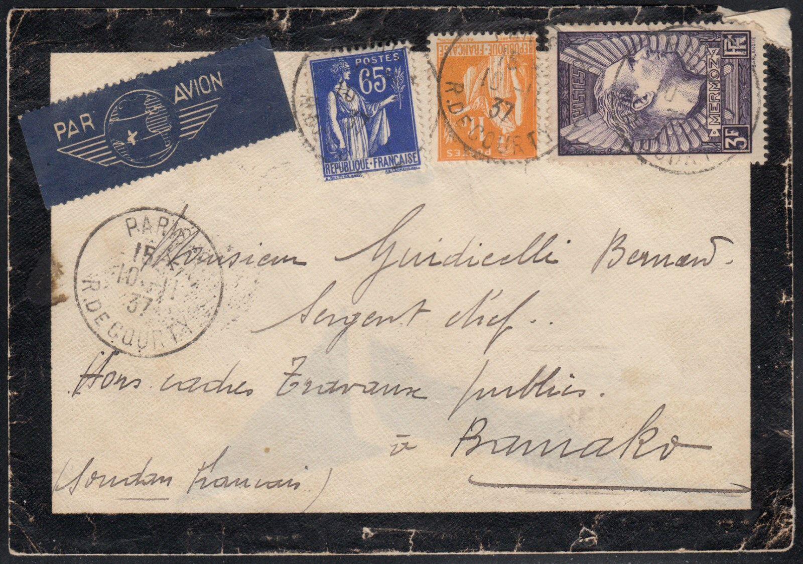 "1er service postal aérien, ligne ""FranceDakarBamako"