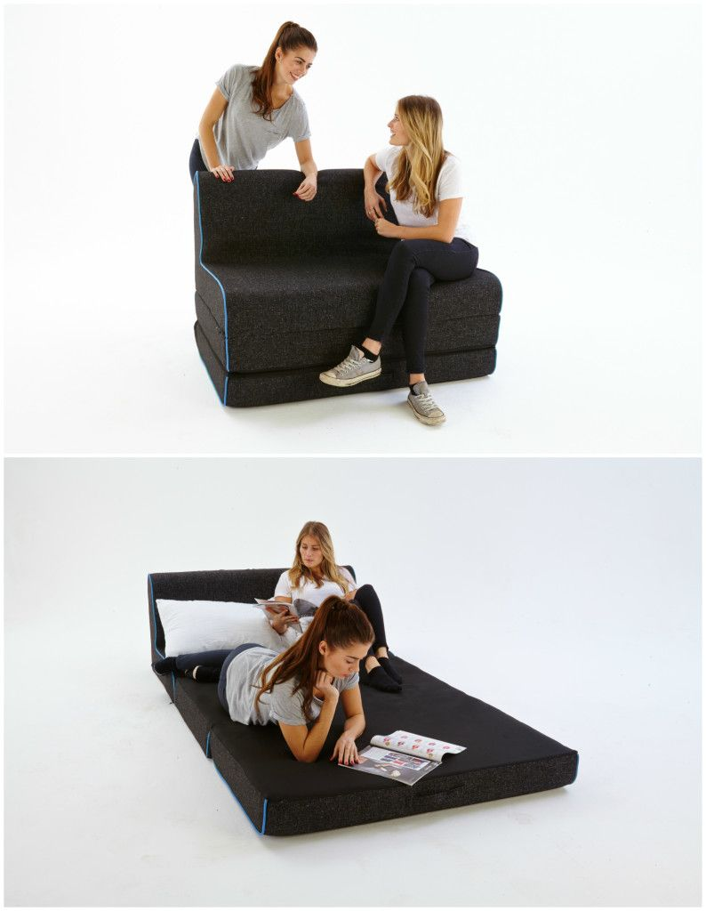 Cool Foot Stool Turns Into A Bed In Seconds Bed Sofa Layout