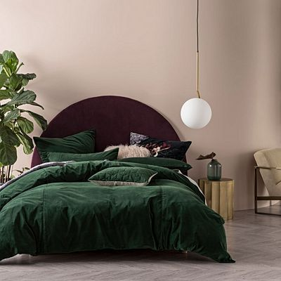 Mossy Road Cotton Velvet Quilt Cover Set By Vintage Design Homewares Zanui Green Comforter Bedroom Bedroom Green Bed Linens Luxury
