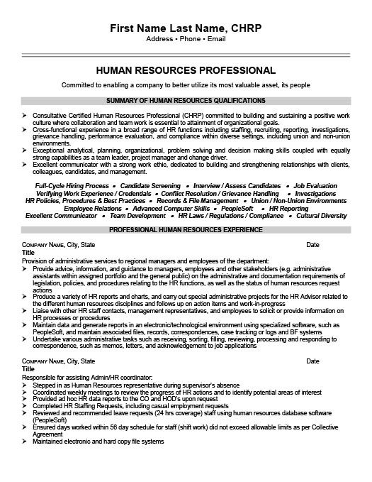 Human Resources Professional Resume Template Premium Resume - human resources resume samples