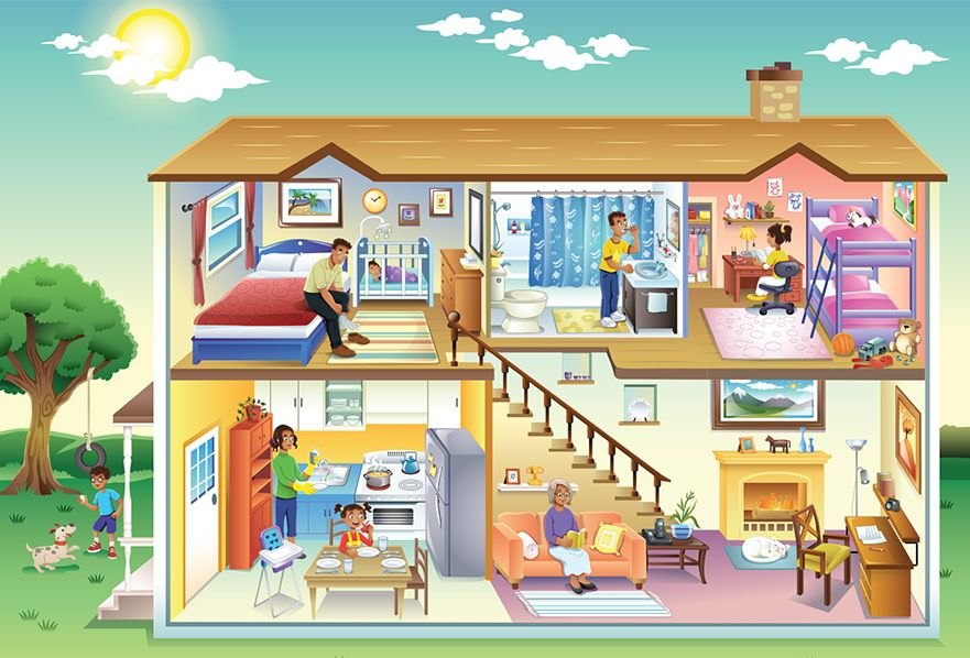 Education Illustration House Cutaway Charlene Chua Illustrator Casa En Ingles Colores En Ingles Ilustracion De Casa