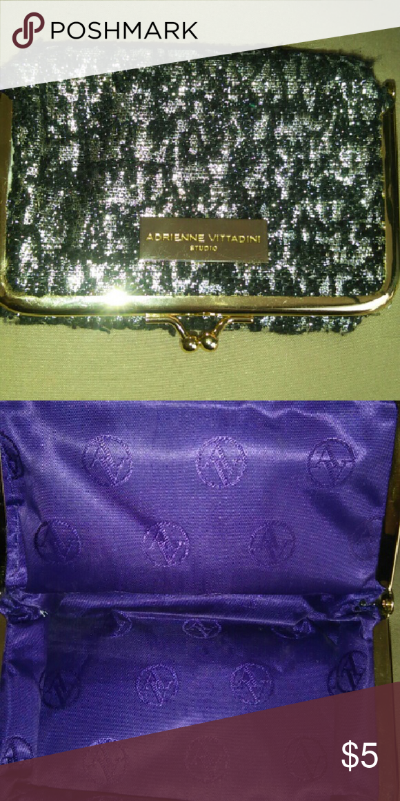 Mini hand clutch Small,very loved,but has LOTS OF LIFE left over....inside looks brand new,with dark purple satin and snap closure ;) Adrienne Vittadini Bags Mini Bags
