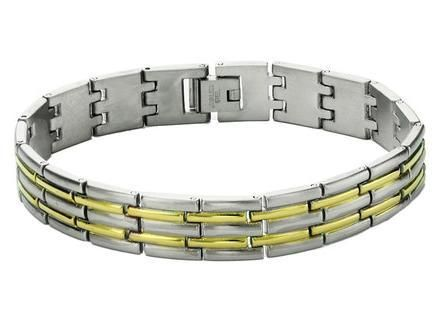 Mens Stainless Steel Silver/Gold Beams Link Bracelet - FREE Shipping!
