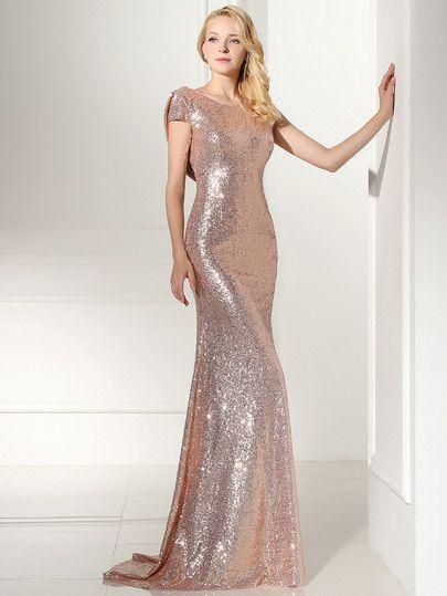 9586e81e3 Vestido de dama de honor espalda abierta con lentejuelas - rosa dorado