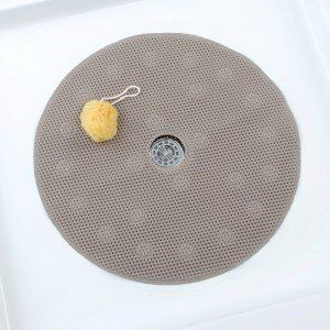 SlipX Solutions Comfort Foam Shower Mat With Center Drain Hole Brown