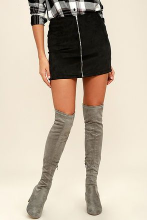 Tahlia Grey Suede Over The Knee Boots Thigh High