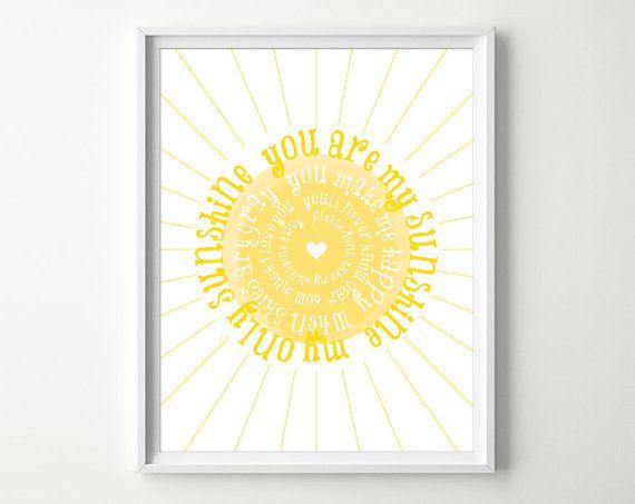 You are My Sunshine Nursery Art Print - You Are My Sunshine Prints ...
