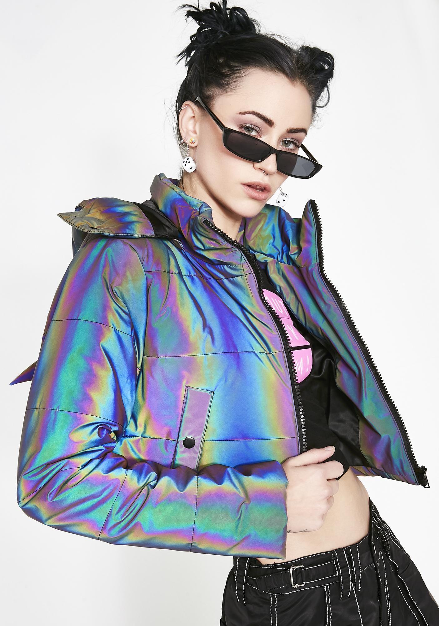 Night Savage Signalz Reflective Jacket Reflective Jacket Holographic Fashion Women [ 2000 x 1405 Pixel ]
