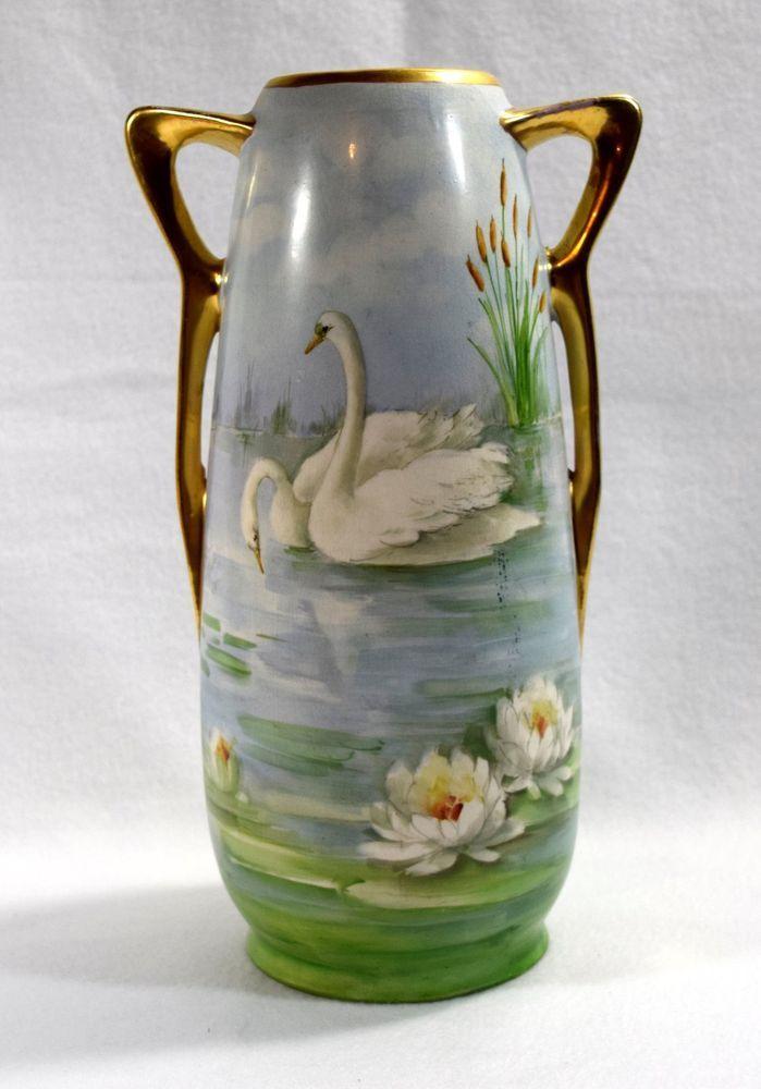 Royal Nippon Nishiki Large Double Handled Tall Vase Swans