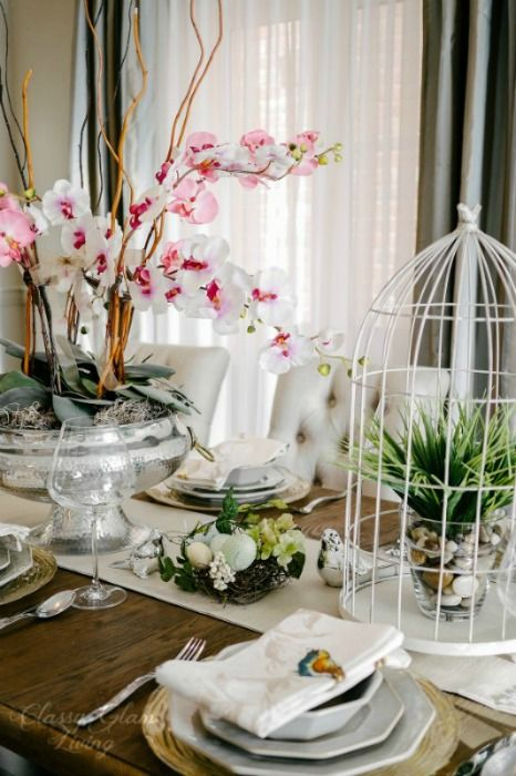 Spring Dramatic Dining Table Setting Centerpiece