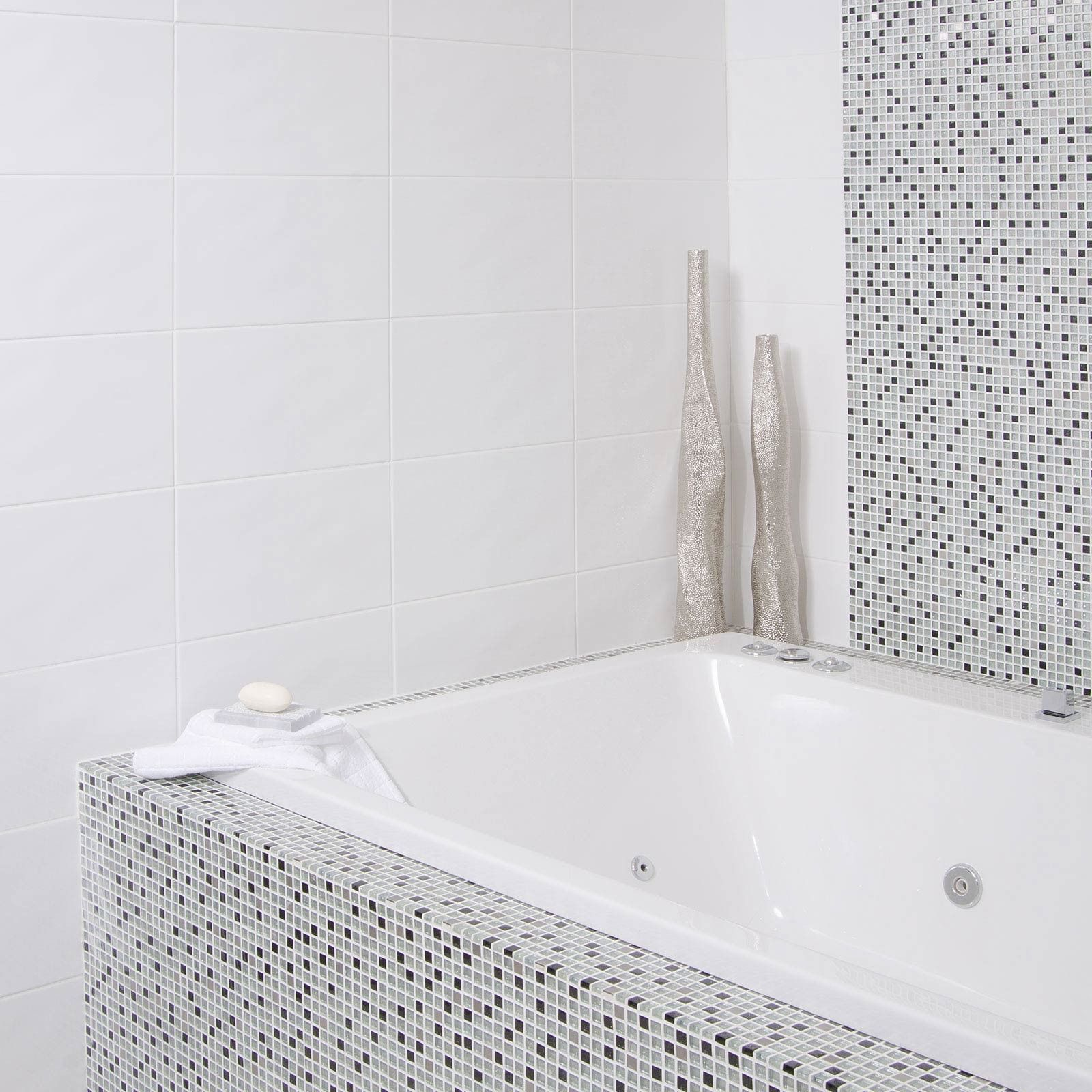 Beret Blanco Tile - Black And White Bathroom Ideas - White Tiles ...