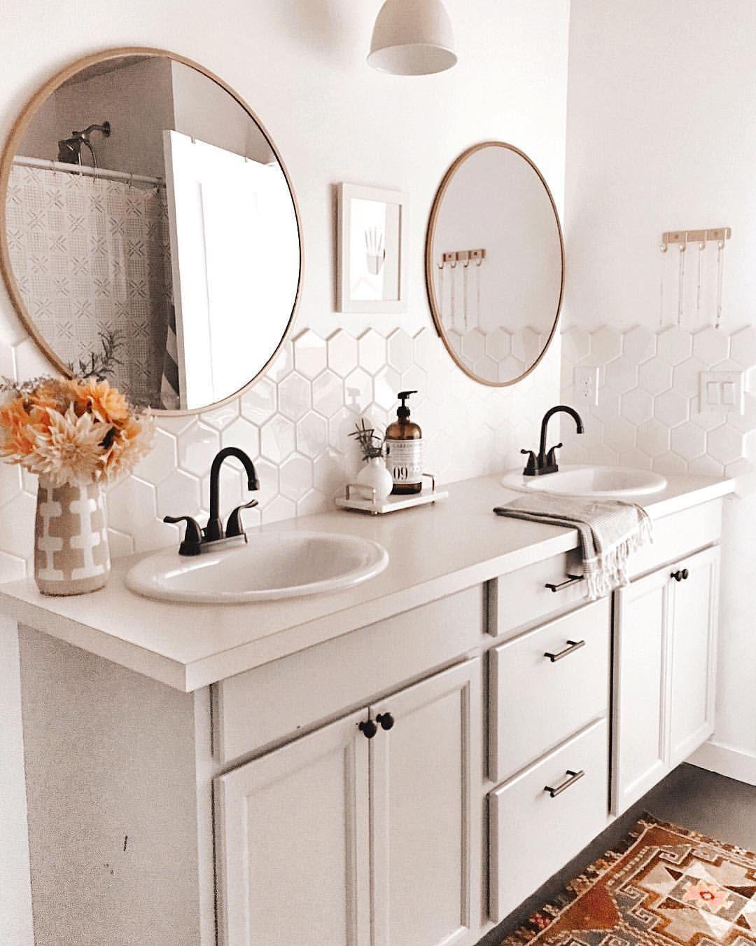 Mirror Over Tile Painted Vanity Bathroom Painting Bathroom Cabinets Bathroom Cabinet Colors [ 1350 x 1080 Pixel ]