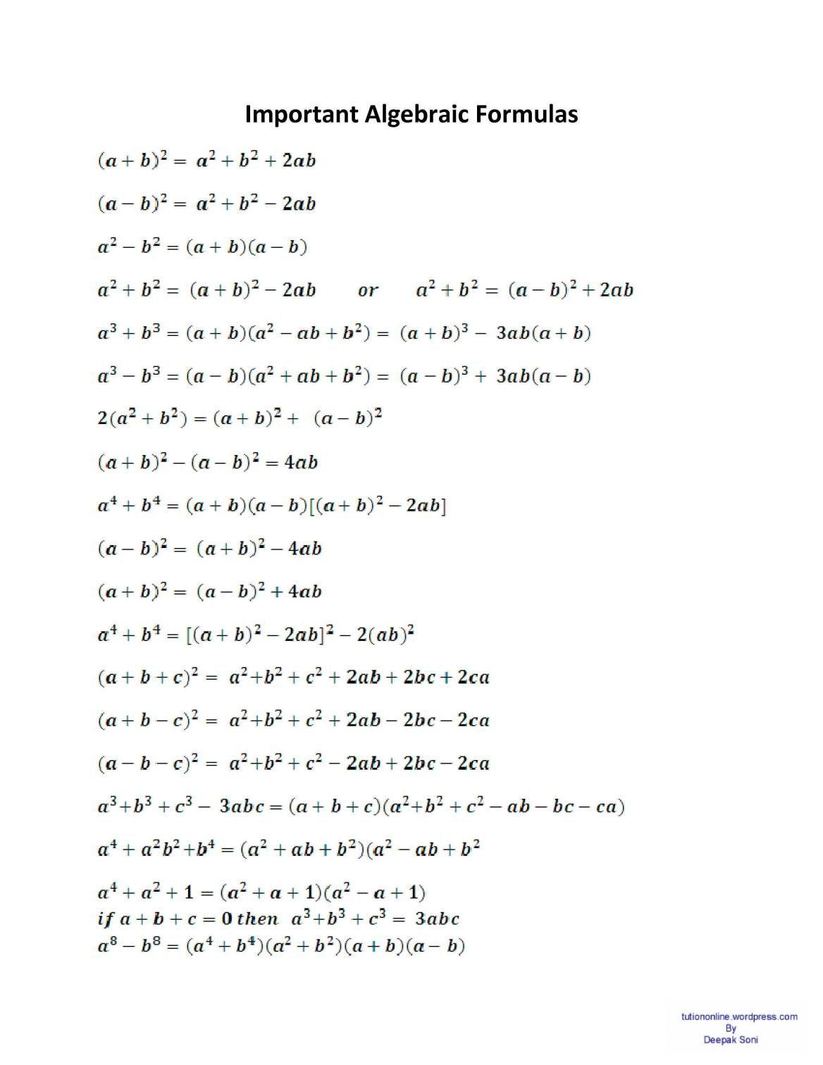 Formula For Basic Algebra