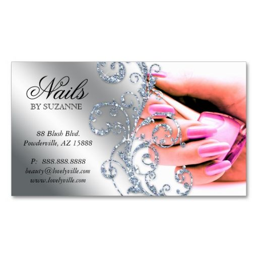 Nail salon business card glitter pink silver i love this for Nail business cards templates