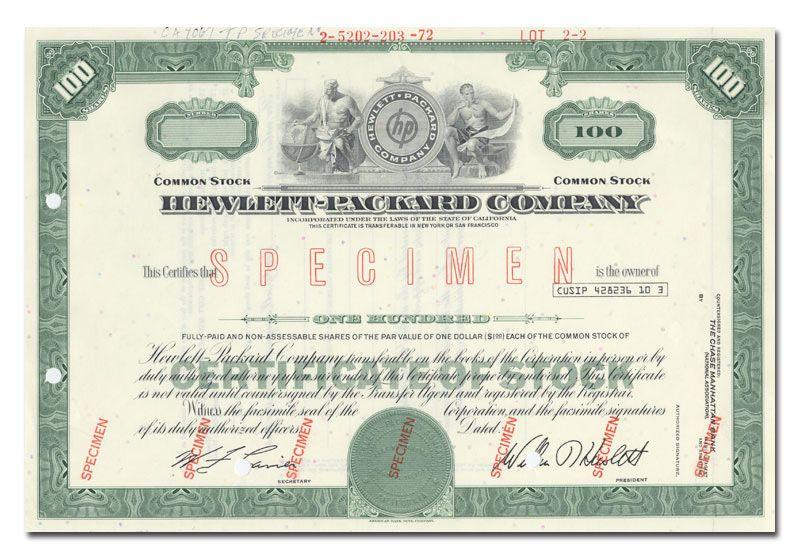 Hewlett-Packard Company Stock Certificate (Specimen) green ...