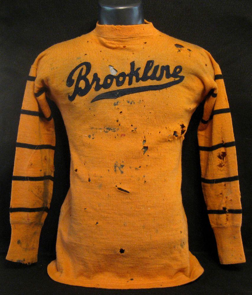 Early Old Antique 1920 S Cotton Felt Orange Black Brookline Football Jersey Long Sleeve Tshirt Men Varsity Sweatshirt Ivy League Style