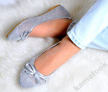 Klk K1757 Balerinki Srebrne Azurowe Siatka 36 41 6146733207 Oficjalne Archiwum Allegro Heeled Mules Shoes Heels