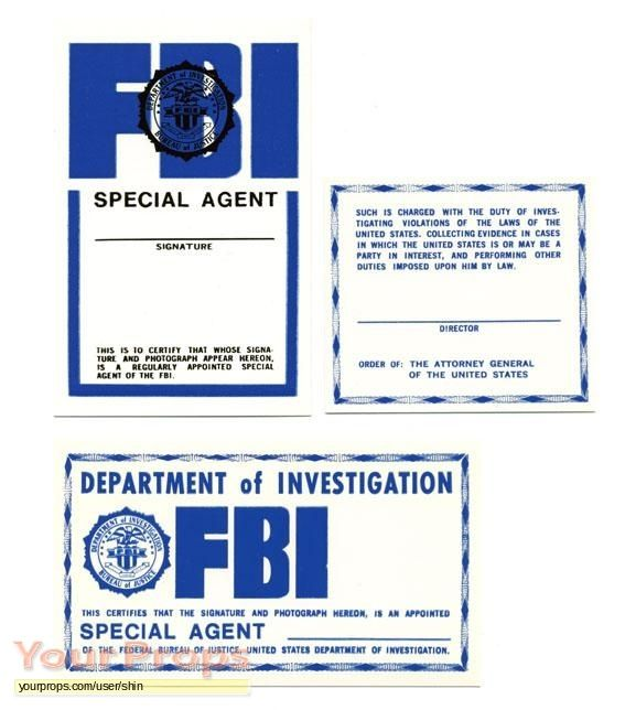 The X Files Original Movie Prop X Files Fbi Card Templates Free