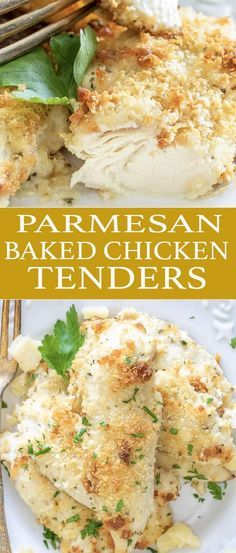Parmesan Baked Chicken Tenders are an easy 30 minute meal that the kids and adults love! You just need a few ingredients to make this easy weeknight meal. via @easygoodideas #chickenbreastrecipeseasy