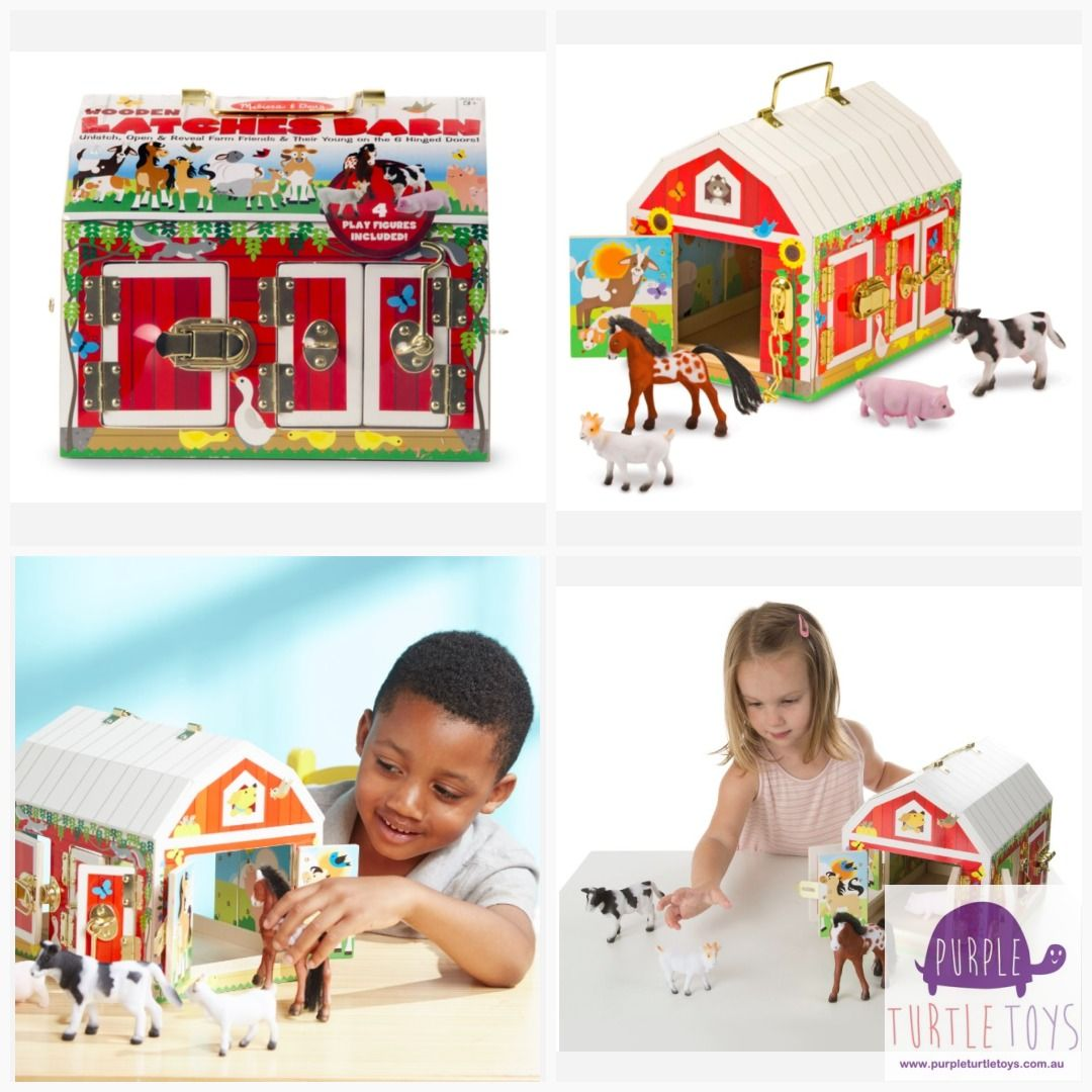 Melissa Doug Wooden Latches Barn Toys Wooden Barn