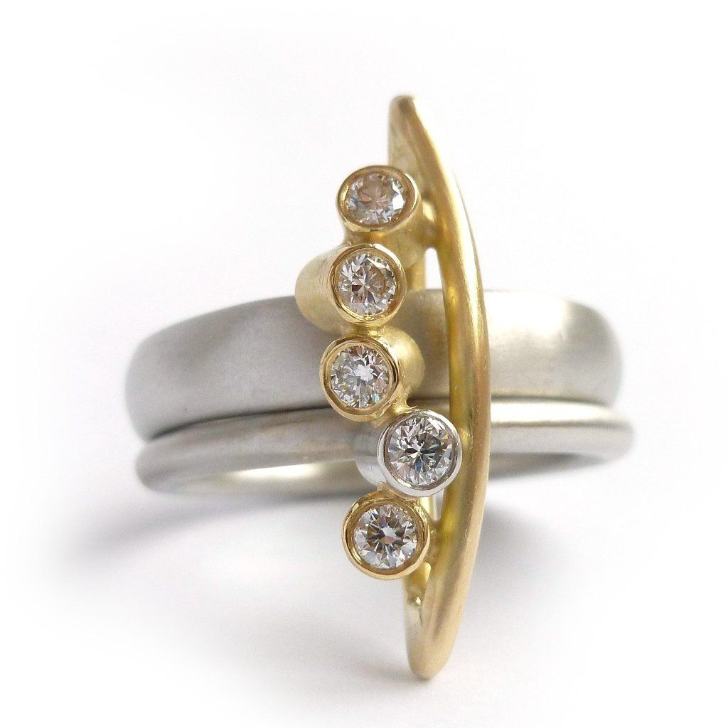 bbe6f4d36 modern platinum and 18k gold ring with diamonds by UK designer and maker Sue  Lane