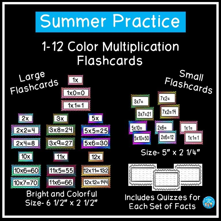 Multiplication Flashcards Color Multiplication Flashcards