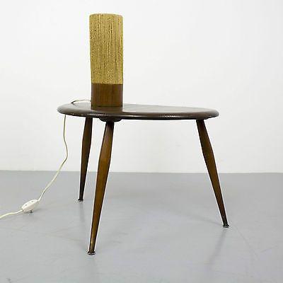 Danish Modern Teak & Sisal Table Lamp Light 60s | Mid Century Tischleuchte 60er
