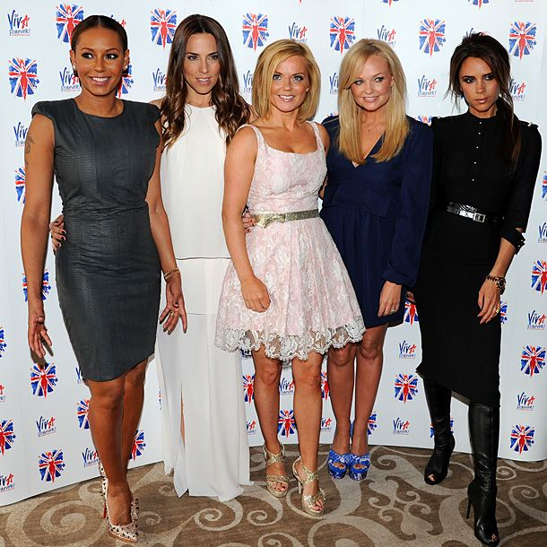 Melanie Brown, Melanie Chisholm, Geri Halliwell, Emma Bunton, and Victoria Beckham at the launch of the new Spice Girls musical in London