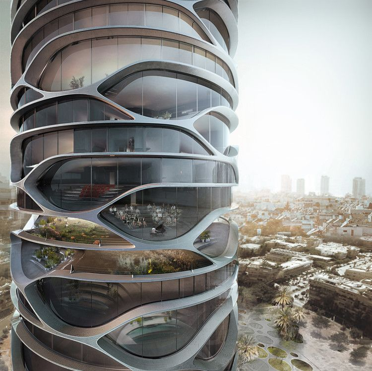 David Tajchman Envisions Cylindrical Skyscraper for Tel Aviv is part of Futuristic architecture - Designed by Architectures David Tajchman  French architect David Tajchman has envisioned a new skyscraper for Tel Aviv, Israel  The conceptual project,  Gran Mediterraneo  offers a mix of