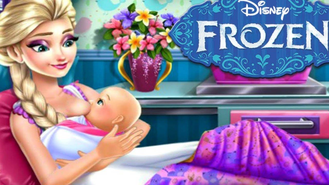 disney frozen pregnant elsa baby birth frozen game cartoon for