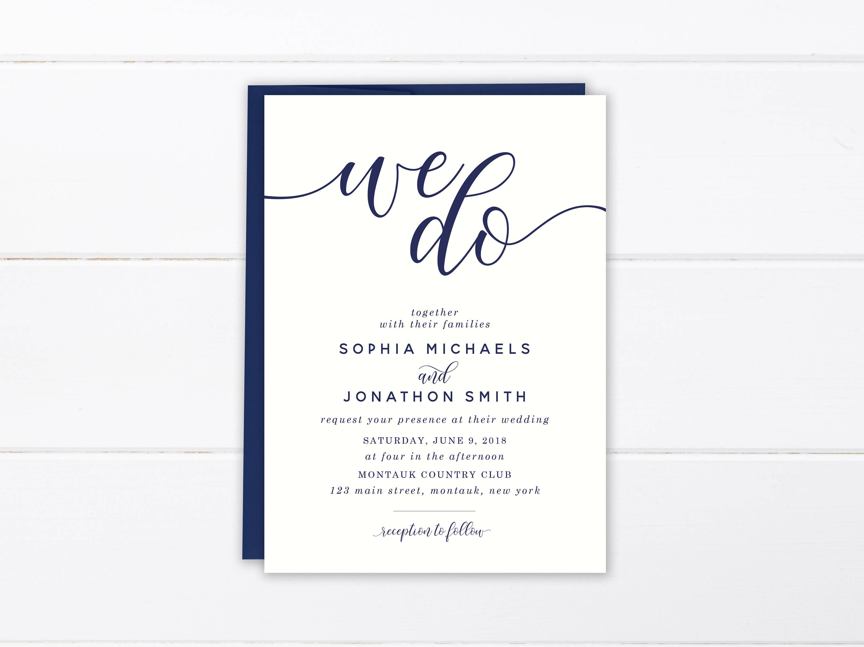 We Do Wedding Invitation Suite, Navy Blue Romantic Calligraphy ...