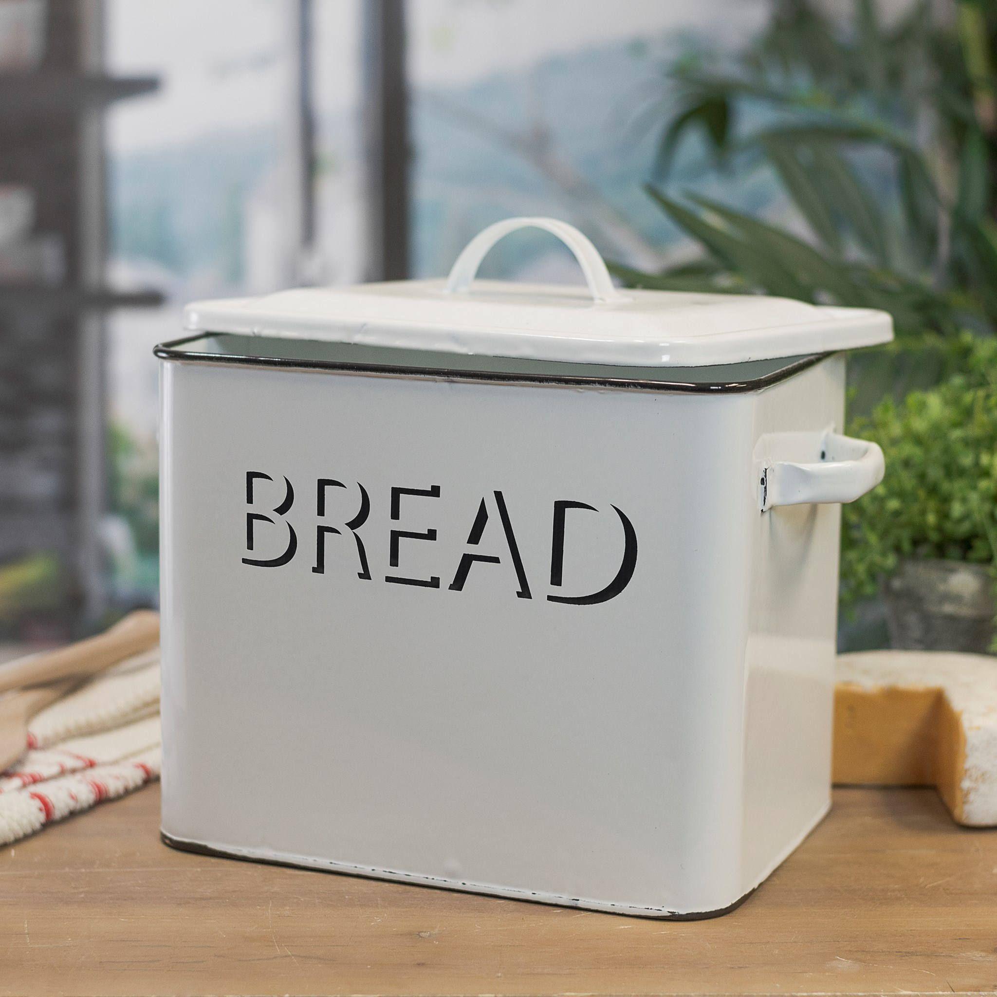 Bread box enamelware with a vintage vibe farmhouse kitchen