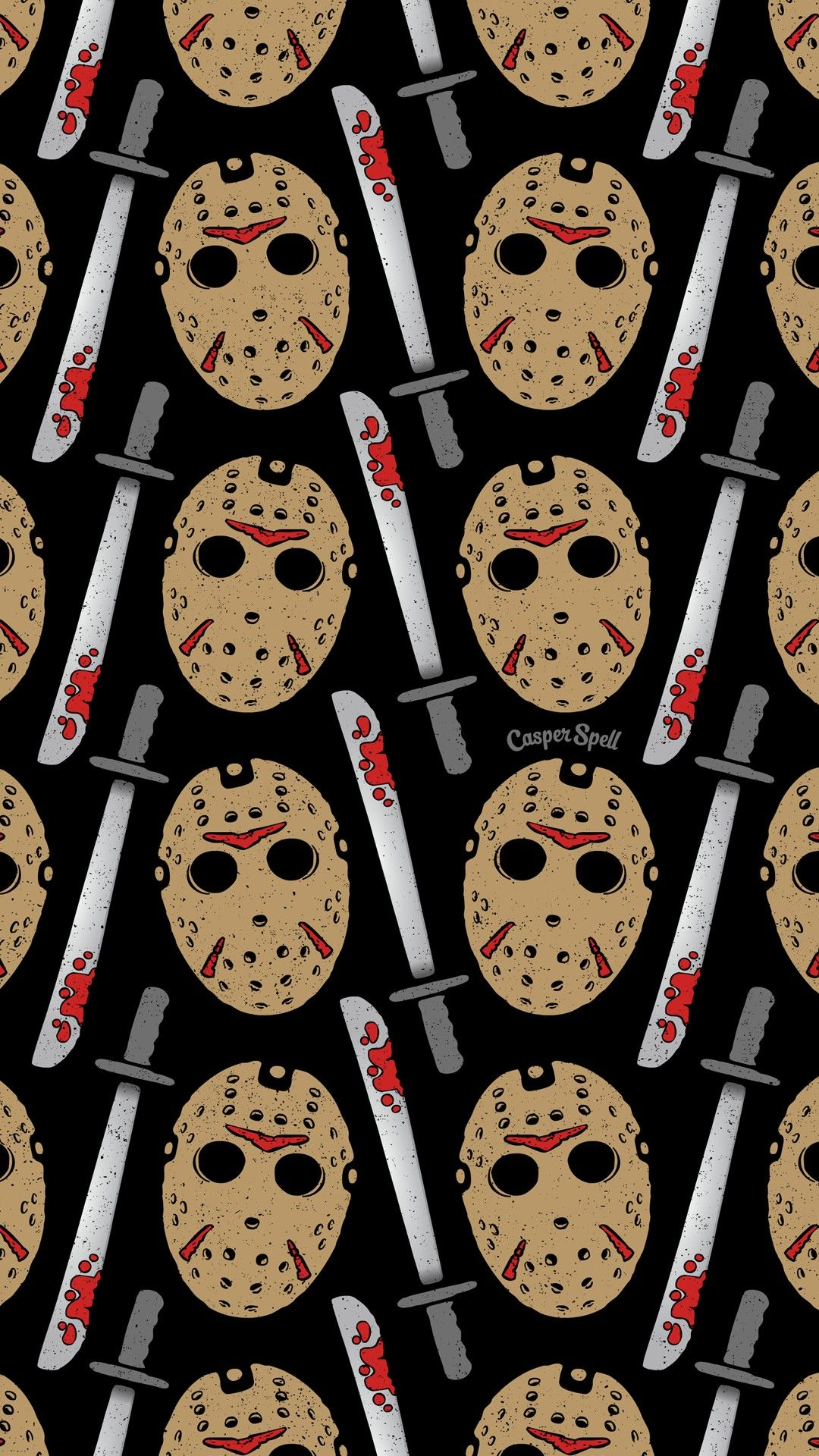 Friday The 13th Jason Voorhees Repeat Pattern Art Surface