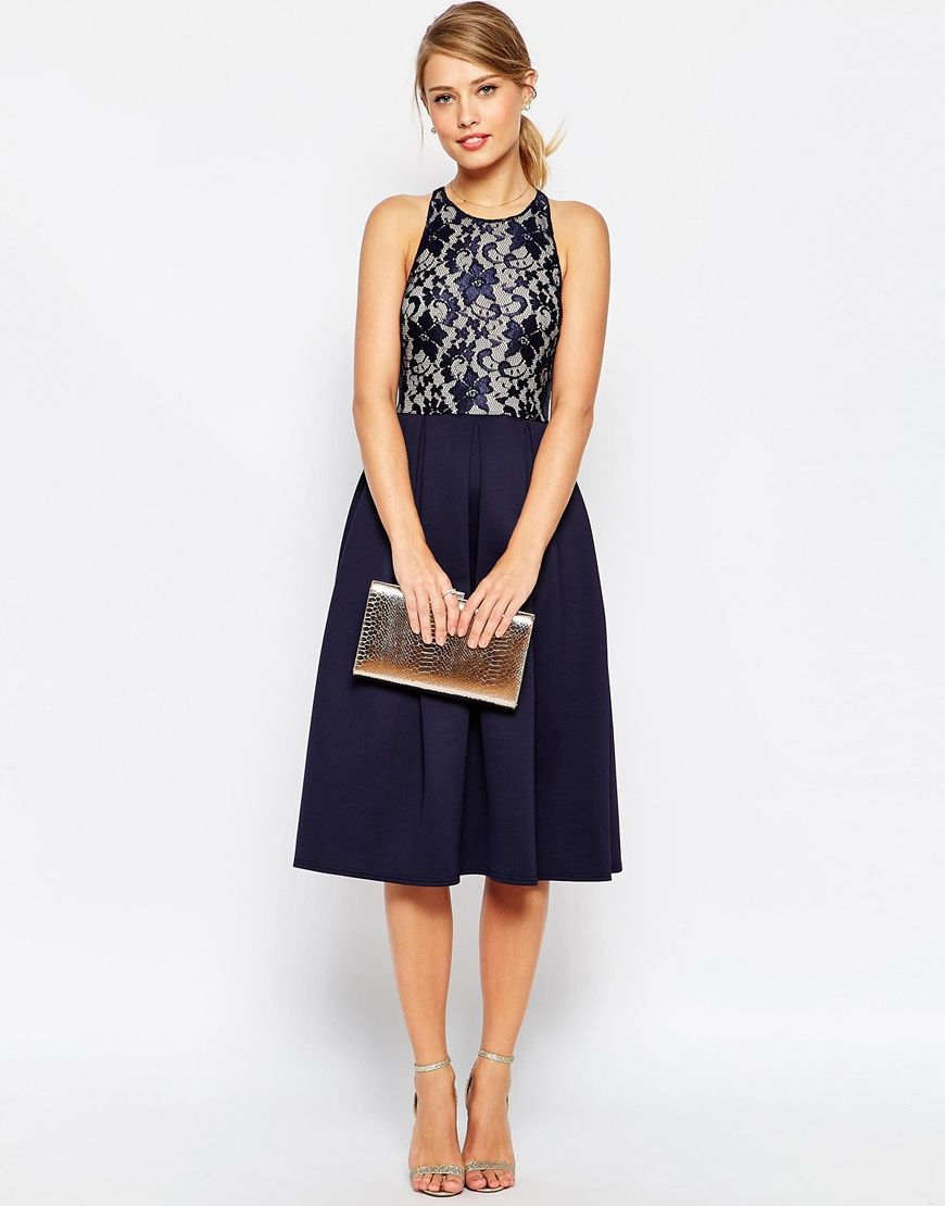Asos Lace Top Skater Midi Dress in Blue | Lyst | Midi Dresses ...