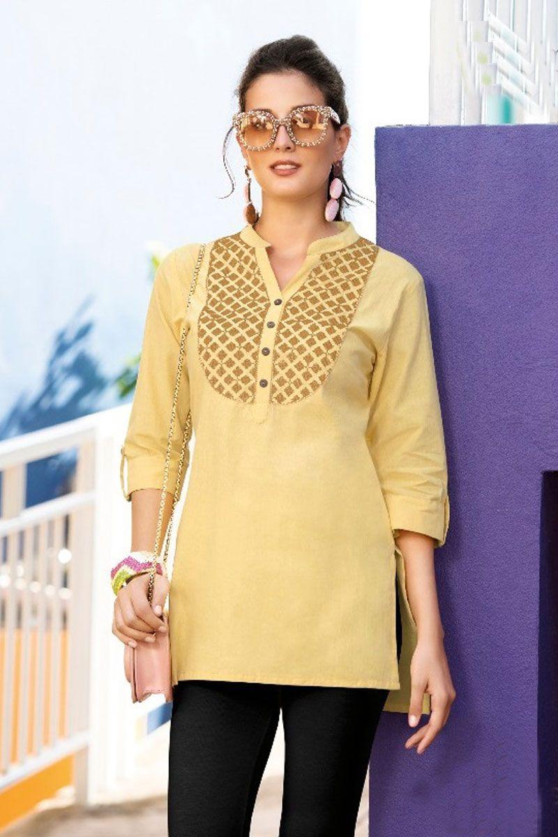 f32842888b1 Cream-Embroidered-Indian-Wear-Plain-V-Neck-Cotton-Waist-Length-Tunic-Tops-5-13474  Catalog No : 4239 WWW.LKFABKART.COM #wholesaledealer #bulksupplier ...
