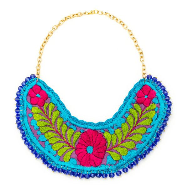 JJ Caprices - Embroidered Bib Necklace with Beads