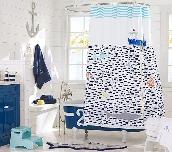 Under The Sea Shower Curtain In 2020 Kids Shower Curtain Shark